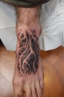 Foot Roots Tattoo by seanspoison