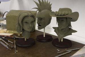 Bust Renderings of Mira, Nails and Spade by DonnKinney