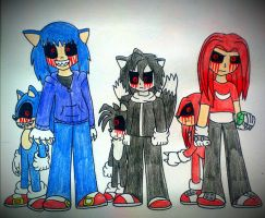 sonic exe , tails exe and knuckles exe by NayaCat