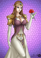 Zelda con rosa by Nika-VS