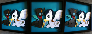 Commission:  Warden + Kuno (+Child) Shadowbox by The-Paper-Pony
