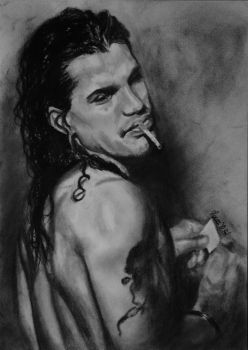 Slash charcoal drawing by Laura10June