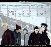 Kpop Calendar March - BIGBANG by souzou-en-ciel