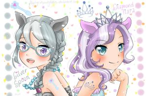 Sparkly Silver Spoon and Diamond Tiara gijinka by FlyingCatsandGlitter