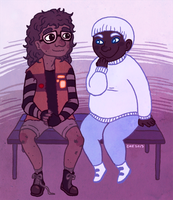 Nonbinary Wall-E and Eve by SirPaahdin
