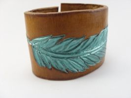 Metallic Teal Feather Cuff in 8oz Leather by LucyLovesLeather