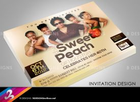 Sweet Peach 40th Birthday Invitation by AnotherBcreation