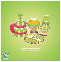 Kawaii Green Pizza Party by KawaiiUniverseStudio