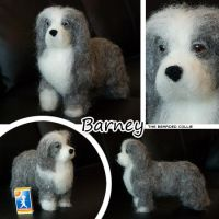 Needle felted bearded collie by Cemina