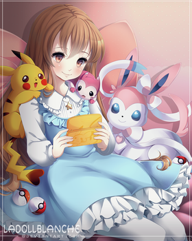 c: Hazel and her Pokemon by LaDollBlanche