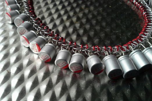 Red Transistor Necklace by Divulged
