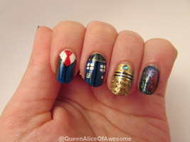 Doctor Who Nails by QueenAliceOfAwesome