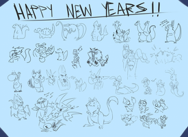 New Years Doodles by MasaBear