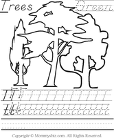 Mommysbiz | T-Trees-Green Preschool Worksheet by DanaHaynes