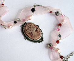 Pink Organza-Pearls Necklace by Aranwen