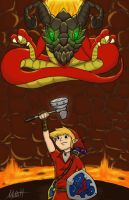 Link vs. Volvagia by Redfred92
