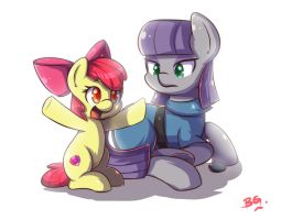 Apple Bloom And Maud Pie by tikrs007