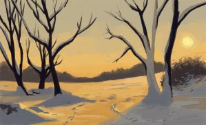 Snowy landscape at sunset by cristac