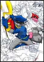 My Sly Cooper coloring project WIP by Lonewolfchan