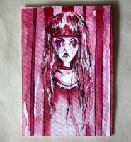 Pink striped girl ACEO by dyingrose24