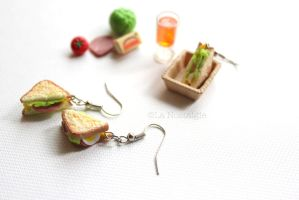 Miniature Sandwich Earrings by La Nostalgie by LaNostalgie05