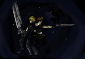 .:Surrounded:Cloud.Squall:KHII by NightmareSherbert
