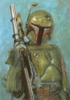 boba fett sketch card by slave-roc