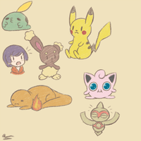 Pokemon doodles by SuperTuffPinkPuff