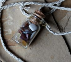 Oregon Agate Bottle Necklaces by lupagreenwolf