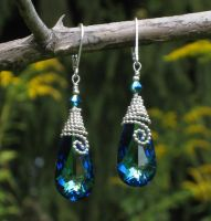 Bermuda Blue Teardrop Earrings by AniqueDesigns