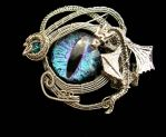Wire Wrap - Baby Dragon Eye Pendant Brooch by LadyPirotessa