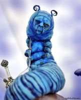 Blue Caterpillar Alice by SutherlandArt
