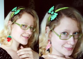 8-bit bow hairband and ear danglers by Waldbraut