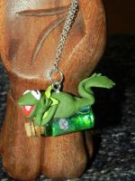 Kermit the Frog from the Muppets on a Bottle Neckl by Secretvixen
