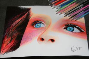 Eyes_Pen Drawing by keillly