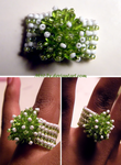 Green + White Beaded Ring by M41-Ty