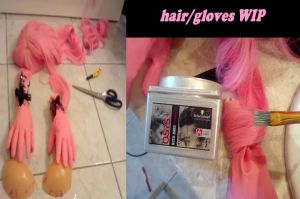 hair and gloves WIP for Melona by kittychamallow