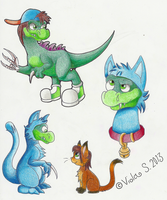 Dinosaurs in cat suits Are swag yo by MG-Koruption17