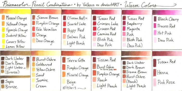 Prismacolor Pencil Combinations 2: Warm Colors by Valkeus-and-Varya