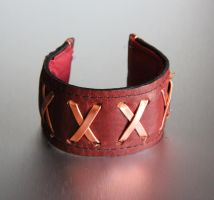 Copper Leather Bracelet Cuff by brandyfox
