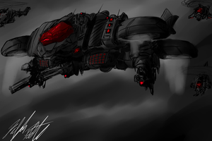 Concept: Lemurian Gunship by PeterPrime