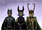 Batman, Maleficent and Loki by daekazu