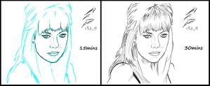 Emma Stone Timed Sketch Comparison by F-Stormer-3000