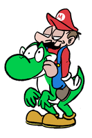 Mario y Yoshi by Winter-Freak