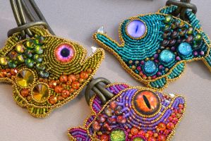 Seed Beaded Tropical Fish with Glass Eyes Necklace by Create-A-Pendant