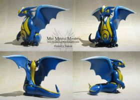 Blue and Yellow Rune Polymer Clay Dragon by MiniMythicalMonsters