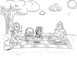 Picnic with Fluttershy -Commission-ish B\W- by Django90