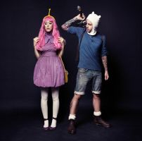 Princess Bubblegum and Finn Adventure Time Cosplay by walnutbirdie