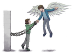 The Chained Girl and the Winged Boy by SteamMouse