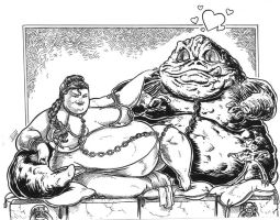 slave leia and Jabba by soapmw3